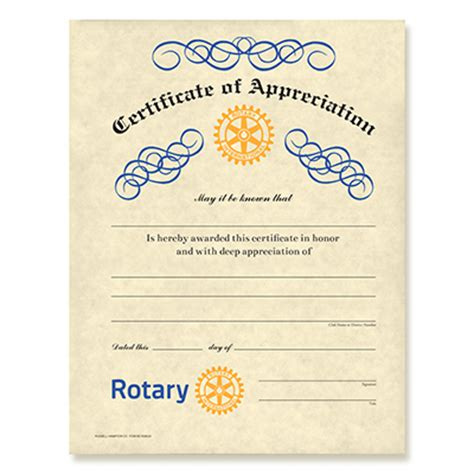 Rotary Club Certificate Template by Rotary Certificate Of Appreciation Rotary Club Supplies