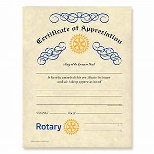 rotary certificate of appreciation rotary club supplies With rotary club certificate template