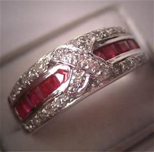 art deco style vintage diamond ruby ring wedding band With vintage ruby wedding rings