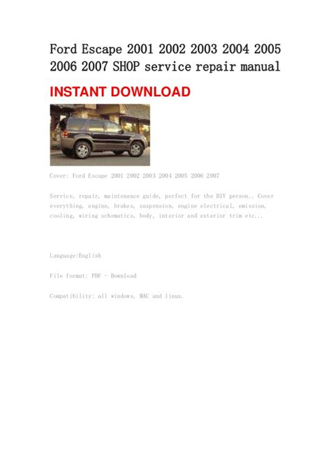 online auto repair manual 2007 ford escape on board diagnostic system ford escape 2001 2002 2003 2004 2005 2006 2007 shop service repair ma