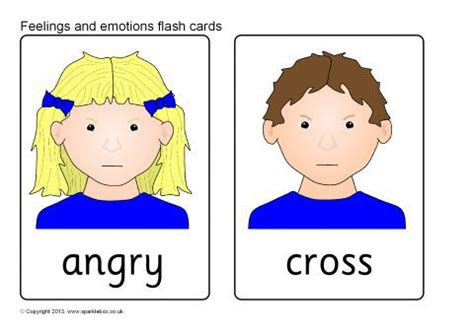 feelings  emotions flash cards sb sparklebox