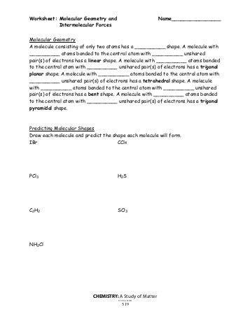 gage chm 1010 worksheet for molecular geometry