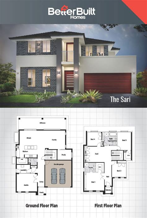 double story house designs  storey floor plan  perspective storey small house design