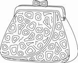 Purse Money Drawing Monochrome Contours Abstract Patterns Female Vector Getdrawings Colourbox sketch template