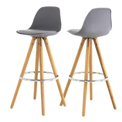 chaise haute de bar grise trépied en bois style scandinave