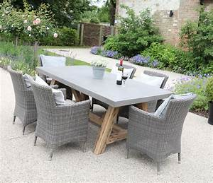 Roma, Polished, Concrete, Outdoor, Dining, Table