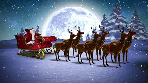 digital animation of santa waving in his sleigh with