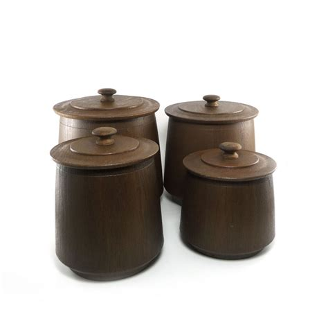 brown kitchen canister sets vintage faux wood canister set chocolate brown roast