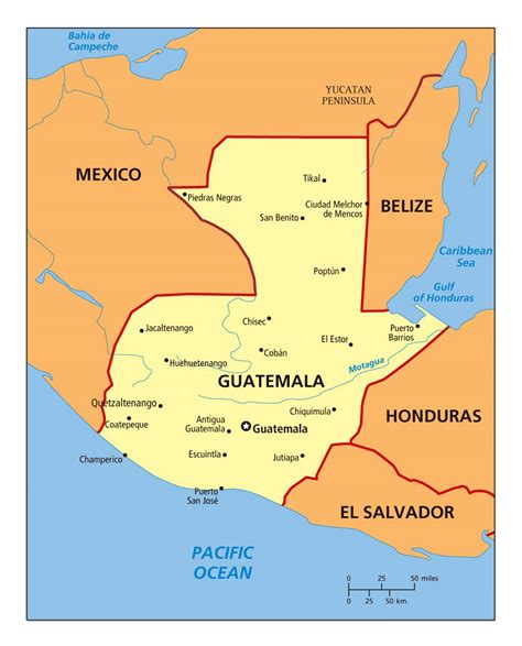 large political map  guatemala  cities guatemala