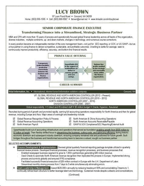 Executive Resume Portfolios by Resume Accounting Finance Page 1 Png