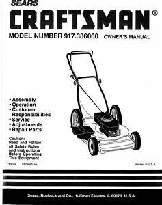 Craftsman 917386060 User Manual Rotary Lawn Mower Manuals