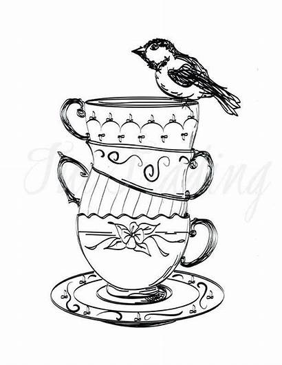 Cups Teacup Drawing Clipart Tea Cup Stacked
