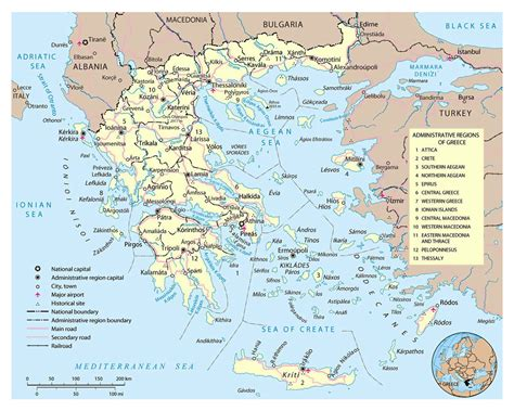 large political  administrative map  greece