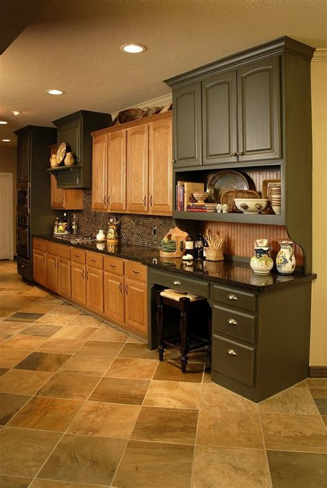 We sand, prime, paint, and finish with the recommended protective clear coat. Lovely Kitchen Floor Ideas with Oak Cabinets 2021 ...