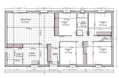 plan maison 5 chambres gratuit plan de maison plain pied gratuit 4 chambres 1 plan