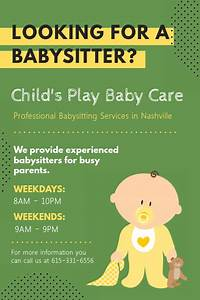 Babysitter Flyer Maker Customize 370 Babysitting Flyer Templates Postermywall