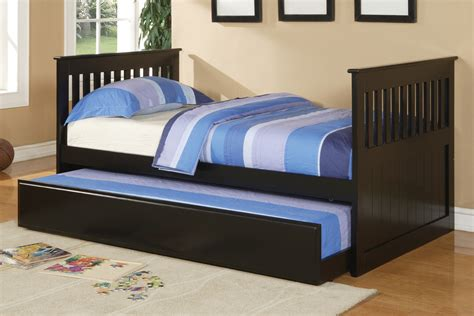 beds with trundle poundex youth bedroom trundle bed in black wood 10809