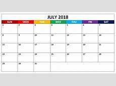 Editable July 2018 Word Calendars Templates CalendarBuzz