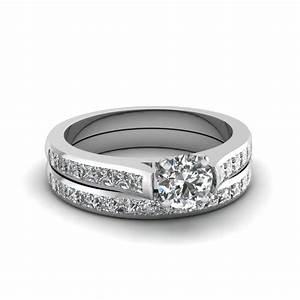 round cut channel set diamond wedding ring sets in 14k With round cut wedding ring sets