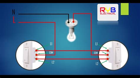 Two Way Light Switch Wiring Diagram Youtube