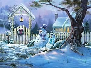 Christmas, Snow, Scene, Wallpapers