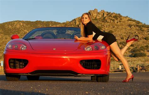 wallpaper  girl mountain girls ferrari red car