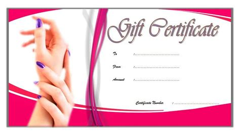 nail salon gift certificate template   gift