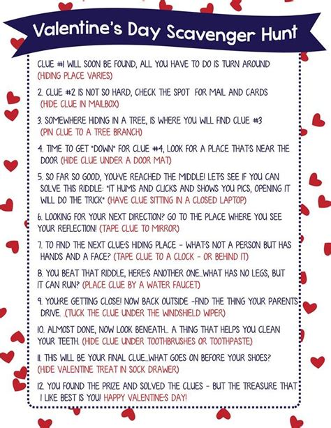 scavenger hunt clues valentine scavenger hunt for kids free printable clues hiding places scavenger hunts and