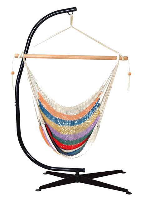 bliss rope hammock chair with stand multi color