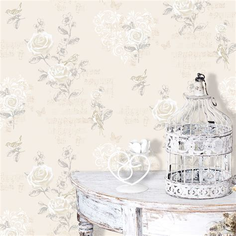 shabby chic wallpaper cream shabby chic jenny wren wallpaper the shabby chic guru