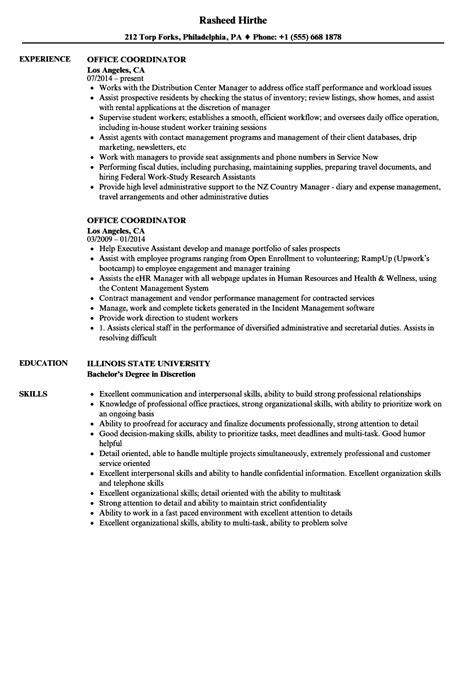 office coordinator resume samples velvet jobs