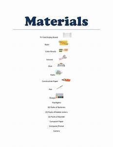 Science fair project materials
