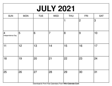 printable july  calendars