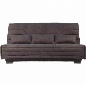 banquette lit clic clac aline tweed gris 140x200 bultex With tapis shaggy avec canapé clic clac livraison gratuite