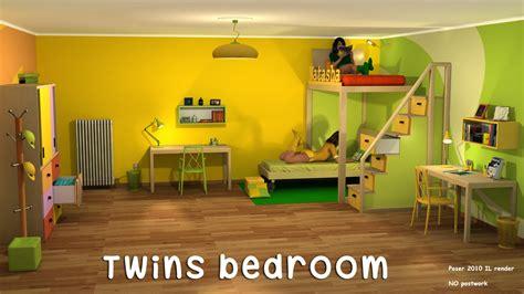 Twins bedroom 3D Models greenpots