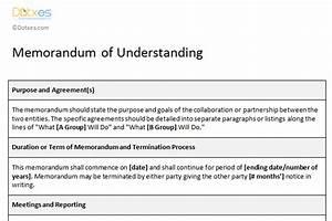 mou templates dotxes With template for a memorandum of understanding