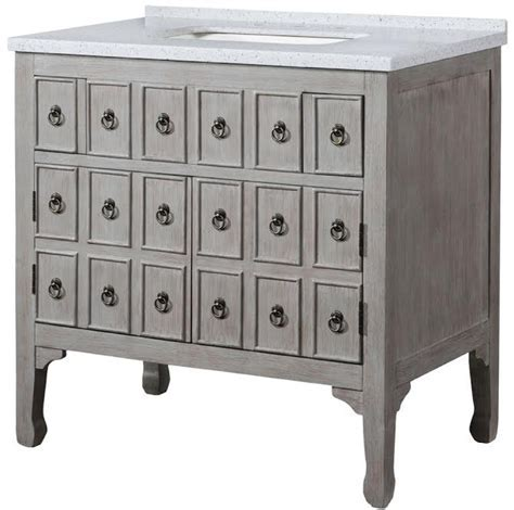 36 Inch Single Sink Bathroom Vanity in Distressed Gray
