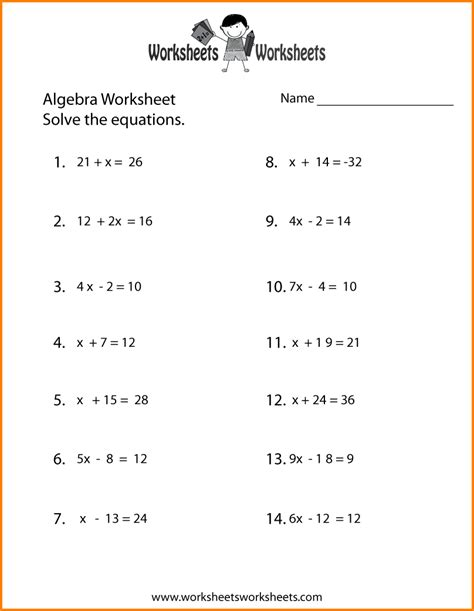 basic algebra worksheets to print 9 basic algebra worksheets western psa