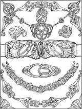Coloring Jewelry Printable Dover Adult Bracelet Nouveau Box Necklace Books Publications Drawing Belt Beginners Welcome Sheet Buckle Doverpublications Template sketch template