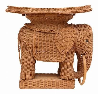 Elephant Table Wicker Side Rattan Chairish