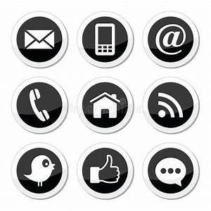 Contact, Web, Blog And Social Media Round Icons - Twitter ...