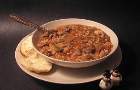 heartwarming beef barley soup    biscuits foodgasm