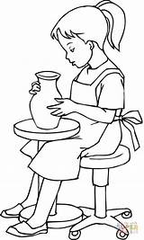 Coloring Pottery Pages Doing Clay Printable Drawing sketch template
