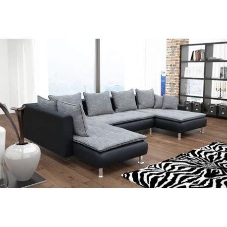 canapé deux angles canapé d 39 angle 6 places dante gris et noir avec deux