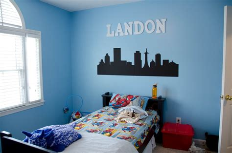 blue paint colors for boys bedrooms city line in two colors on canvas for 20378   377680664b7ecd770424a81d11086efd