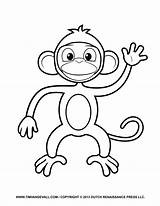 Monkey Coloring Clipart Printable Cartoon Crafts Project Creative Templates Parents sketch template