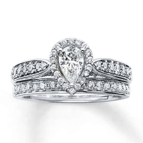 kay diamond bridal set 1 1 5 ct tw pear shape 14k white