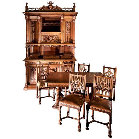 vintage walnut dining room set antique neogothic style dining room set of carved walnut 8847