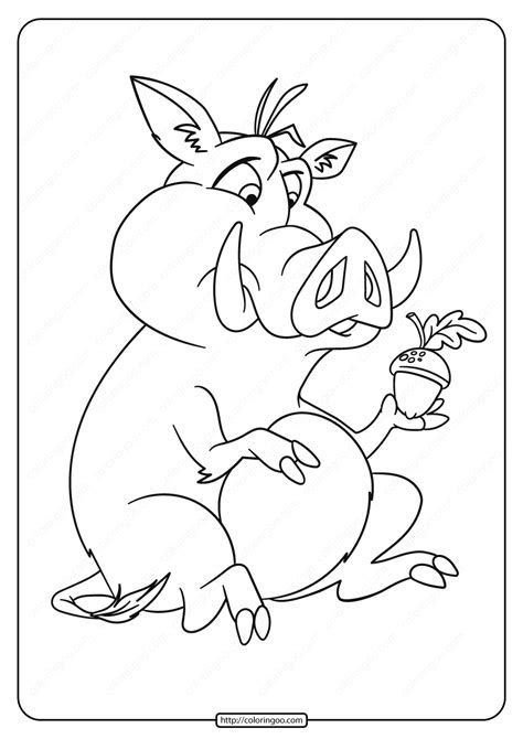 Printable Pig with an AcornColoring Page