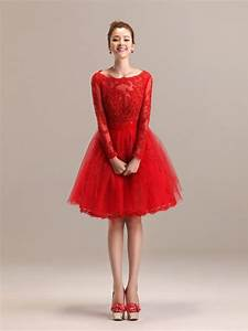 red wedding dresses dressed up girl With short red wedding dresses